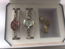 Vision Women's Analogue Quartz  Stone Double  Bracelet  watch set with a Broach