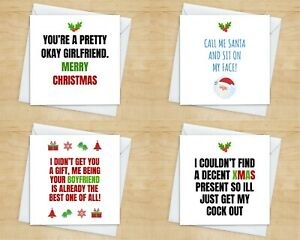 Christmas Card for Girlfriend – Funny Cheeky Rude - From Boyfriend - 10+ Styles!