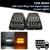 Amber/White LED Turn Signal Lights Smoked For 90-18 Mercedes-Benz W463 G550 G500
