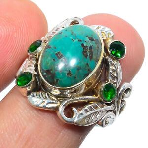 Chrysocolla - Africa & Emerald Quartz 925 Sterling Silver Boho Ring s.8 S2055