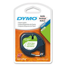 "DYMO LetraTag Paper Label Tape Cassettes 1/2"" x 13ft White 2/Pack 10697"