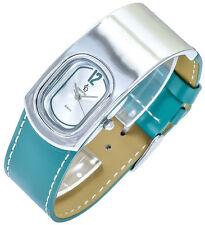 Crystal Blue Women's Quartz Watch Silver Green Analogue Leather W-60412112456
