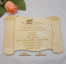 Geburtstagsgeschenk Glückwünsche auf einer Holztafel graviert zum 55. Geburtstag