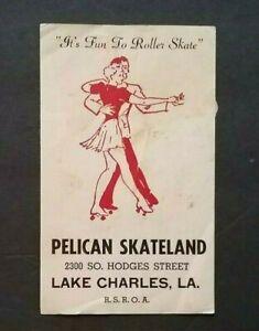 VINTAGE 1950'S ROLLER RINK LABEL STICKER PELICAN SKATELAND, LAKE CHARLES, LA.