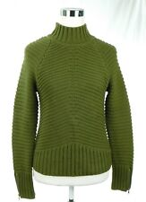 NWOT Reunited Clothing Heavy Knit Pullover Military Sweater Dark Olive Size XS