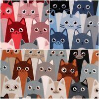 BAUMWOLLSTOFF [Katzen allover] 3 Farben | Baumwolle Meterware Kinderstoff