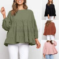 UK Womens 3/4 Sleeve Tiered Peplum Top Shirt Casual Loose Tunic Blouse Plus Size