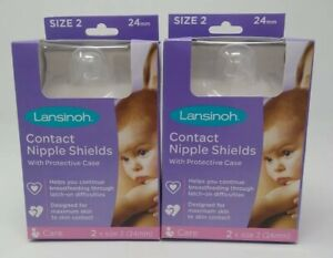 Lot of 2: Contact Nipple Shields with Case for Breastfeeding Size 2, 24 mm, NIB