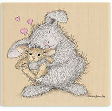 New House Mouse Happy Hoppers LOVE BUNNY Wood Rubber Stamp Heart Baby Hug Amore
