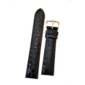 Genuine Hirsch Crocograin Embossed Leather Watch Strap Choice of Width & Colour