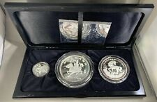 1994 The Silver China Unicorn Collection 3 Coin Proof Set Box & COA 100Y 50Y 10Y