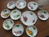 FINE SELECTION OF HARRY WHEATCROFT  ROSES MISMATCH CHINA PLATES SAUCERS, CUPS