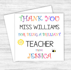 Personalised Thank You Teacher Card Gift Nursery School Teaching Thank You