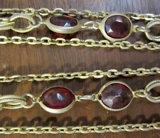Vintage 11 inch Gold Clad Chain Red Facet Rhinestone Triple Strand Necklace(182
