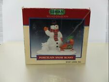 VINTAGE LEMAX Village Collection Porcelain Snow Bunny Figurine 1997 Snowman