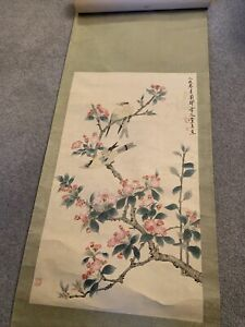 VTG Roll-Up Asian Hanging Scroll Asian Art Painting Chinese China