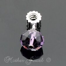 WHITE GOLD GP FACETED 12MM AMETHYST PURPLE CRYSTAL EUROPEAN CHARM DANGLE BEAD