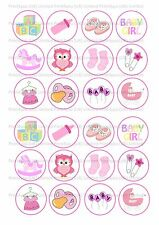 24 Edible cake toppers decorations New Baby girl shower Mixed cupcake cup cake
