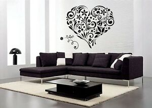 Love Heart Flowers Wall Art Stickers Floral Wall Decal Transfers Sticker