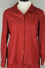 Eileen Fisher Wool Crepe M 10 12 Rust Copper Brick Red Button Front Jacket Top