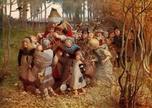 """JAMES E CHRISTIE 1881 Oil Painting """"THE PIED PIPER"""" 1930 Vintage Art BookPrint"""