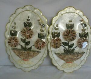 2 Sea Shell Art Wall Hanging Plaques, Flowers, Oval with Scalloped Edge, 45cm H