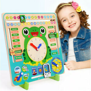 Kid Wooden Frog Clock Calendar Date Weather Board Learning Educational Toy Gift