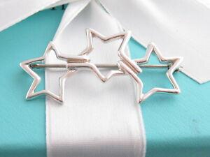 TIFFANY & CO SILVER TRIPLE STAR BROOCH PIN