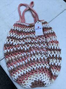 Roving Rose Handmade Knit Cute Carry On Satchel Weekender Market Bag $25 Retail