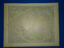 Vintage 1899 Atlas Map ~ Brussels, Belgium ~ Antique & Authentic ~ Free S&H