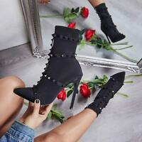 Womens Studded Elastic Mid Calf Knee High Ladies Pointy Stiletto Heel Boot Shoes