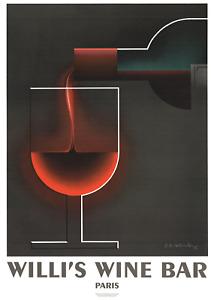 A.M. CASSANDRE Willi's Wine Bar 39.5 x 27.5 Lithograph 2005 Vintage Black, Red B