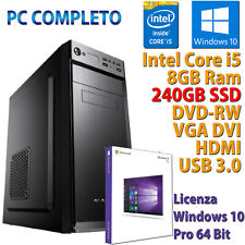 PC COMPUTER DESKTOP FISSO WINDOWS 10 INTEL HEXA 6 CORE i5-8400 RAM 8GB SSD 240GB
