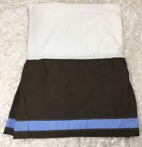 Pottery Barn Kids Chocolate Brown Cornflower Blue Trim Crib Skirt Dust Ruffle