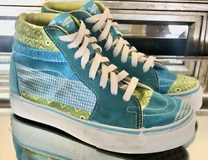 Vans Off The Wall Skateboard Shoes  High Aqua Green Suede Canvas M 3 W 5