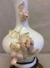 """Italian Venetian Or Murano Table Lamp w/Applied Flowers 32"""""""