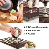 48-Cavity Silicone Pastry Cake Macaron Macaroon Oven Baking Mould Sheet Mat Set