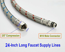 PLUMBING  2 Pack 24Inch STAINLESS STEEL FAUCET SUPPLY LINE 1/2