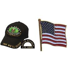 U.S. Army Never Retired Cap Hat Black & USA American Flag Pin