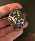 (B) Vintage Nepal Tibet Silver Bead Carved Turquoise Coral Large