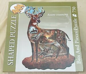 Bits And Pieces Ruane Manning DEER Shaped Jigsaw Puzzle WOODS THEME 750pc SEALED