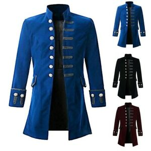 Mens Vintage Gothic Steampunk Jacket Military Blazer Frock Pirate Coat Outwear