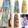 USA Ladys Fashion Chiffon BOHO Ladies Floral Gypsy Long Maxi Full Skirt Sundress
