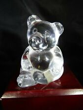 "Vintage Quality Art Glass- Princess House Crystal Bear Figurine ~2.5"" x 3.25"""
