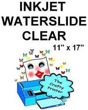 INKJET CLEAR WATERSLIDE Decal Paper - 11x17 - 10 Sheets