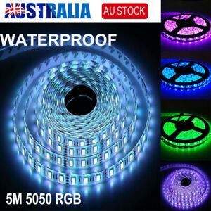 5050 RGB 5M LED Strip Light LEDS SMD 12V PWR Waterproof 24 KEY IR Controller