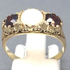 """VINTAGE STYLE 9CT YELLOW GOLD *RUBY & OPAL* COCKTAIL DRESS RING  SIZE """"O""""  1476"""