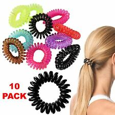 Girls 10pcs Spiral Hair Bobble Bands Rope Slinky Elastic Rubber Tie Ponytail