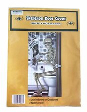 Funny Halloween Decoration Door Cover Skeleton in the Loo