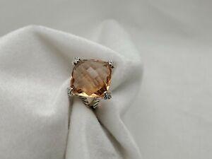 David Yurman 20x20mm Cushion on Point Ring with Morganite and Diamonds size 8